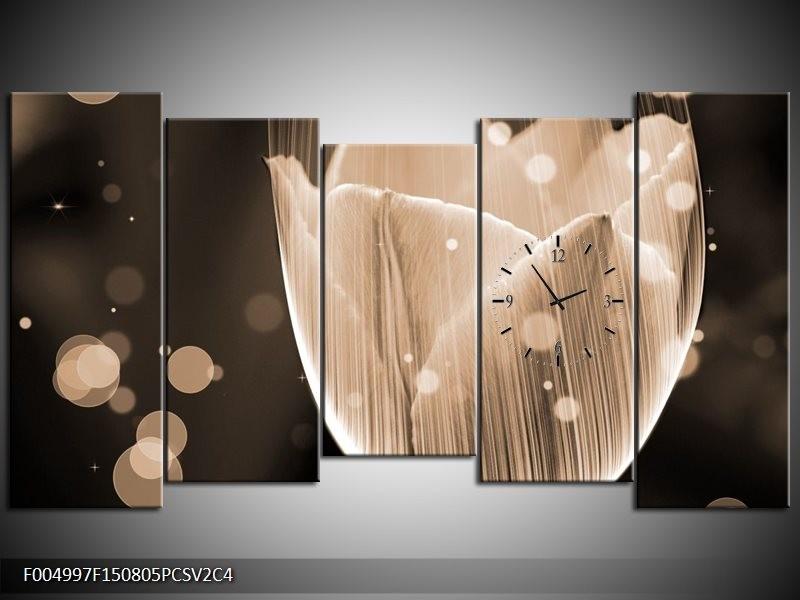 Klok schilderij Tulp   Grijs, Zwart   150x80cm 5Luik