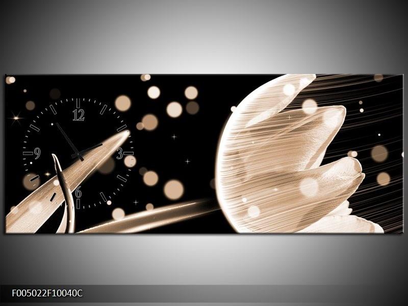 Klok schilderij Tulp | Bruin, Zwart | 100x40cm 1Luik