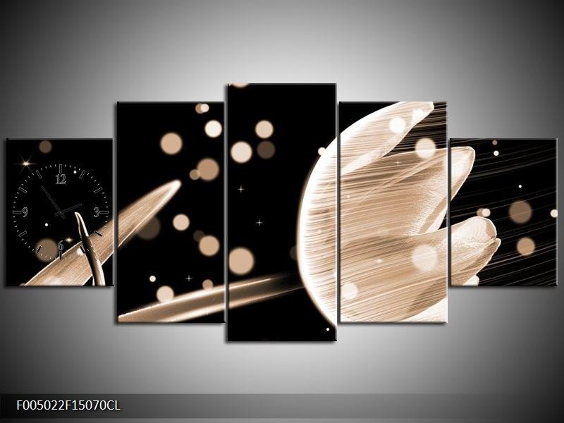 Klok schilderij Tulp | Bruin, Zwart | 150x70cm 5Luik