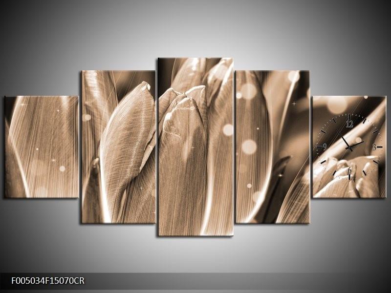 Klok schilderij Tulp | Grijs, Zwart | 150x70cm 5Luik