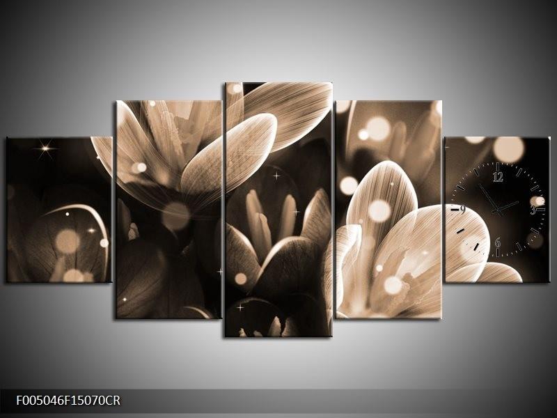 Klok schilderij Bloem | Grijs, Zwart | 150x70cm 5Luik