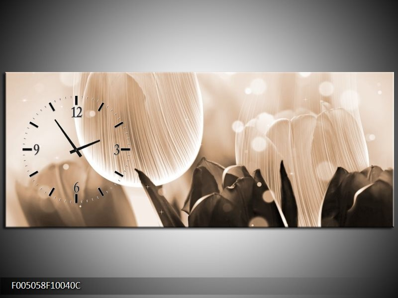 Klok schilderij Tulp | Grijs, Bruin, Zwart | 100x40cm 1Luik