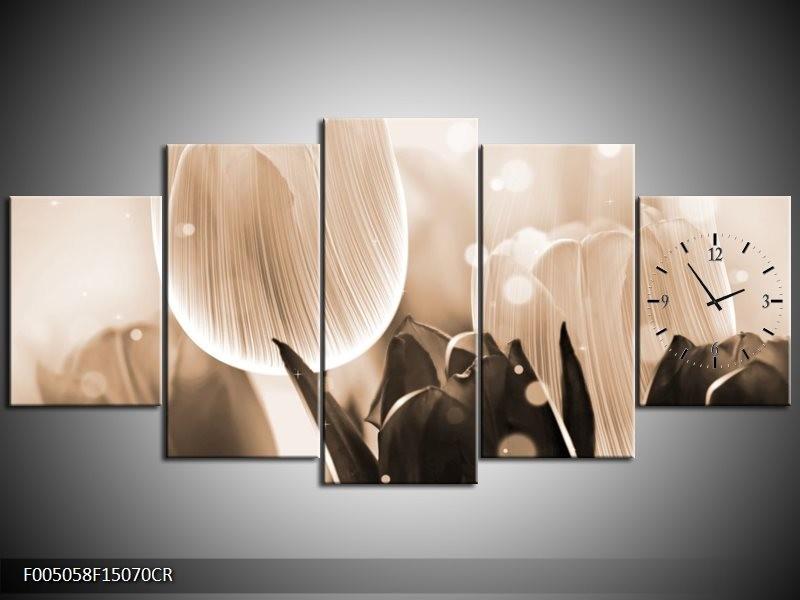 Klok schilderij Tulp | Grijs, Bruin, Zwart | 150x70cm 5Luik