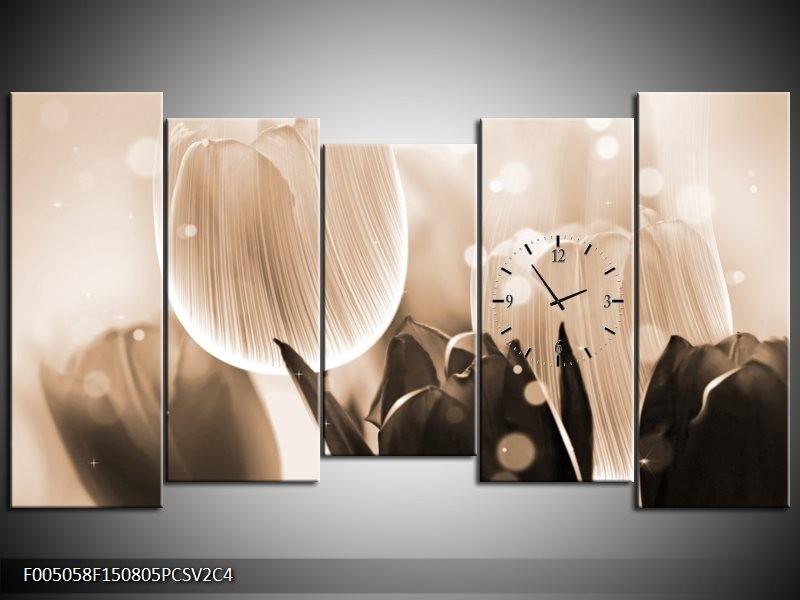 Klok schilderij Tulp   Grijs, Bruin, Zwart   150x80cm 5Luik