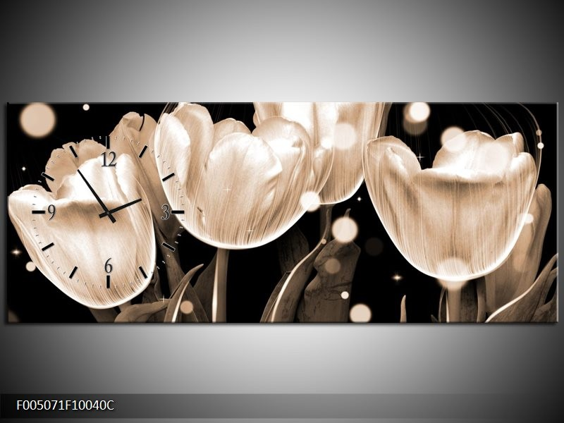 Klok schilderij Tulp | Wit, Grijs | 100x40cm 1Luik