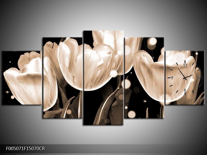 Klok schilderij Tulp | Wit, Grijs | 150x70cm 5Luik