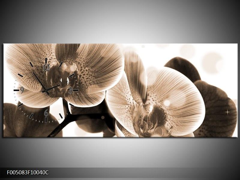Klok schilderij Orchidee | Grijs, Wit | 100x40cm 1Luik