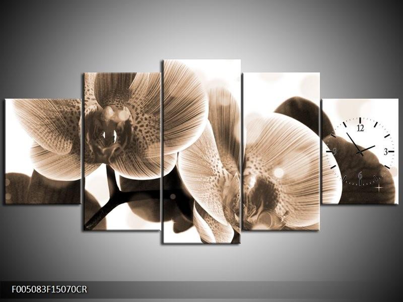 Klok schilderij Orchidee | Grijs, Wit | 150x70cm 5Luik