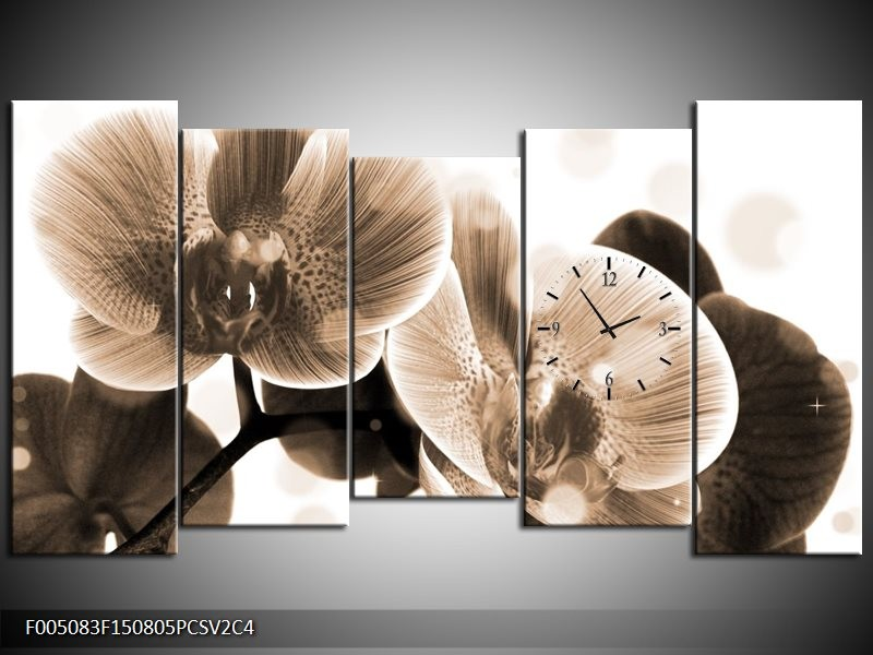 Klok schilderij Orchidee   Grijs, Wit   150x80cm 5Luik