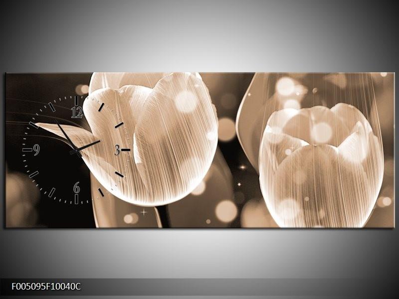 Klok schilderij Tulp | Grijs | 100x40cm 1Luik