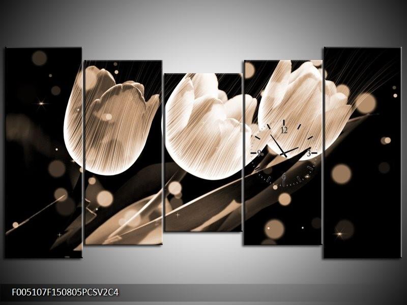 Klok schilderij Tulp   Wit, Zwart, Grijs   150x80cm 5Luik