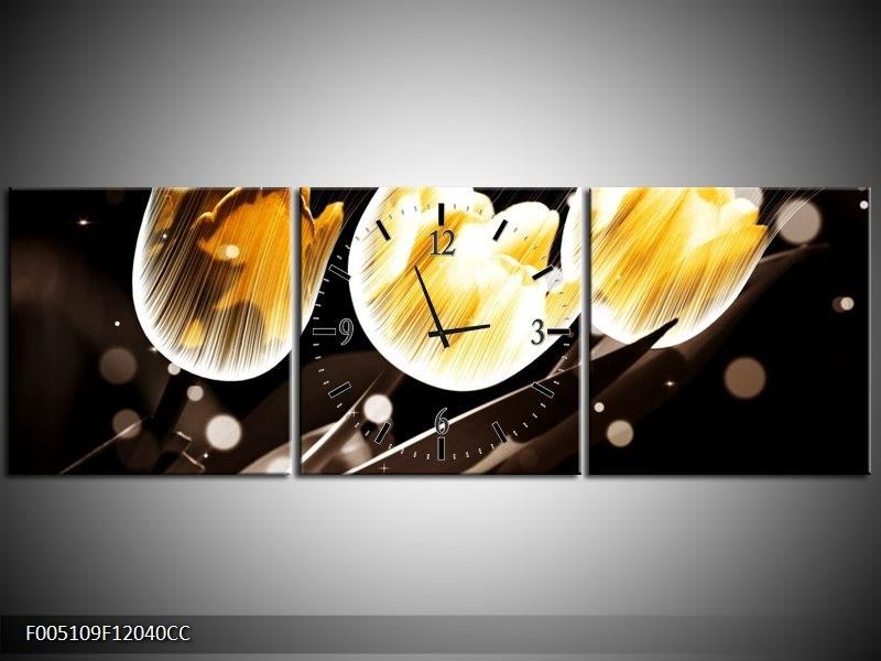 Klok schilderij Tulp   Geel, Zwart   120x40cm 3Luik