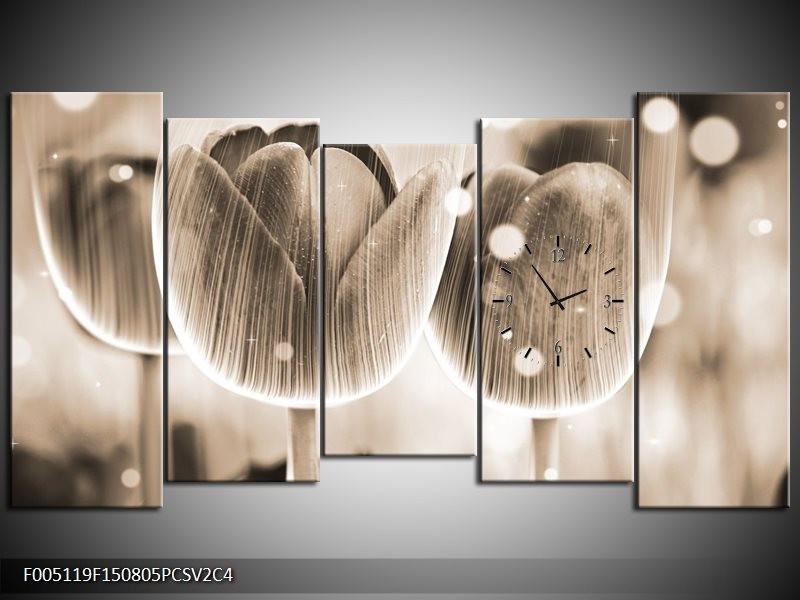 Klok schilderij Tulp   Grijs   150x80cm 5Luik