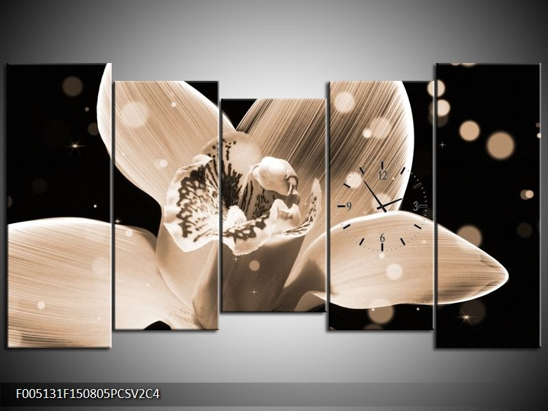 Klok schilderij Bloem   Grijs, Zwart   150x80cm 5Luik
