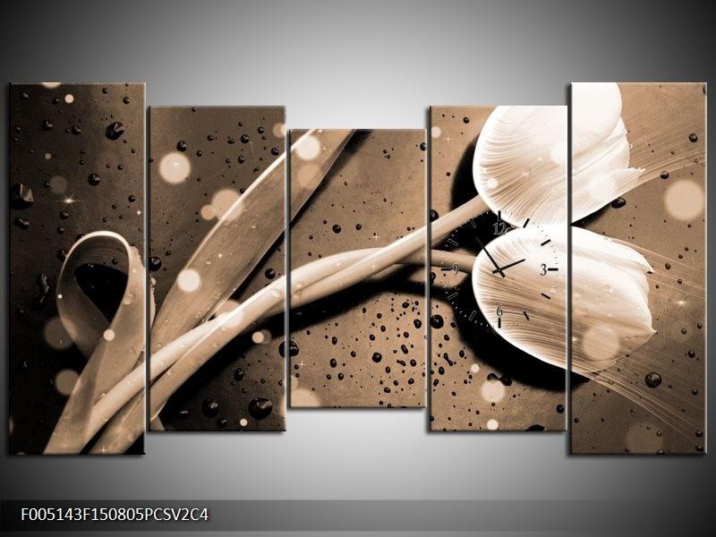 Klok schilderij Tulp   Grijs, Wit   150x80cm 5Luik