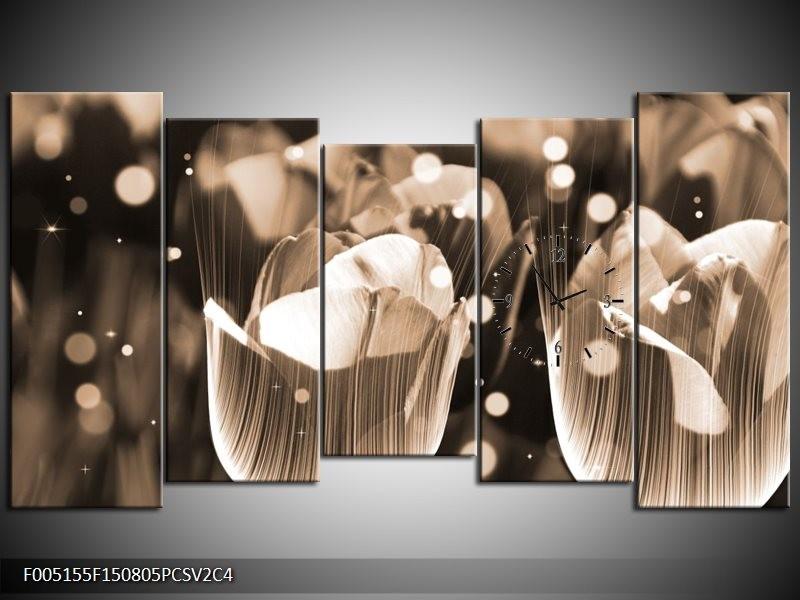 Klok schilderij Tulp | Grijs | 150x80cm 5Luik