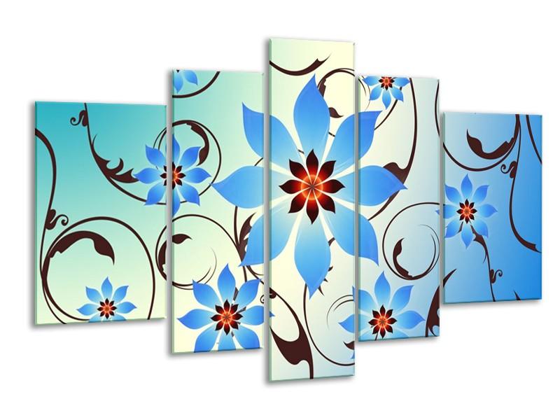 Canvas schilderij Modern | Blauw, Wit | 170x100cm 5Luik