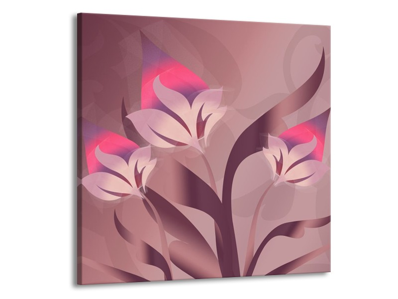 Canvas schilderij Modern | Paars, Roze | 70x70cm 1Luik