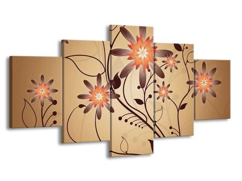Canvas schilderij Modern | Bruin, Oranje | 150x80cm 5Luik