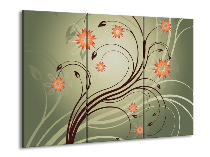 Canvas schilderij Modern | Bruin, Oranje | 90x60cm 3Luik