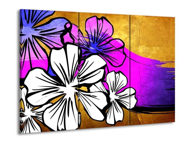 Canvas schilderij Art | Bruin, Wit, Paars | 90x60cm 3Luik