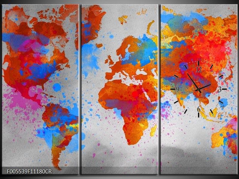 Klok schilderij Wereld   Grijs, Rood, Blauw   111x80cm 3Luik