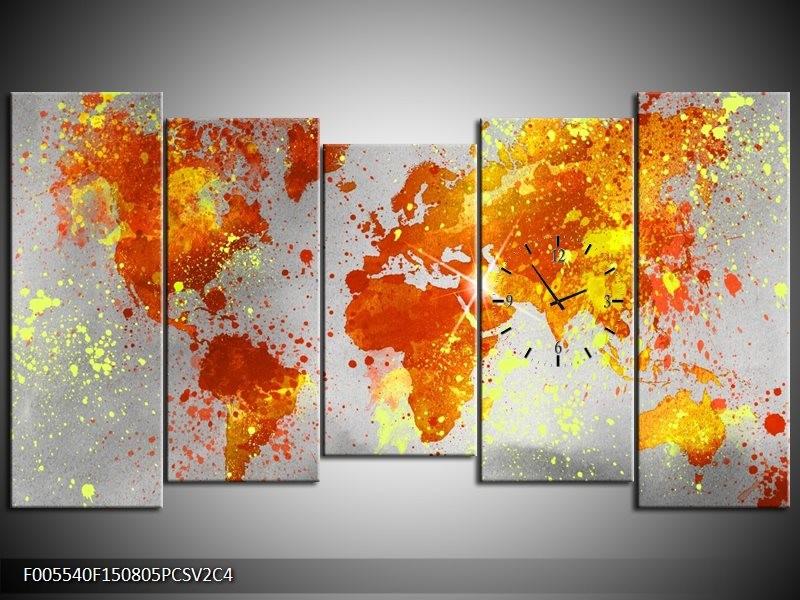 Klok schilderij Wereld | Grijs, Oranje, Geel | 150x80cm 5Luik