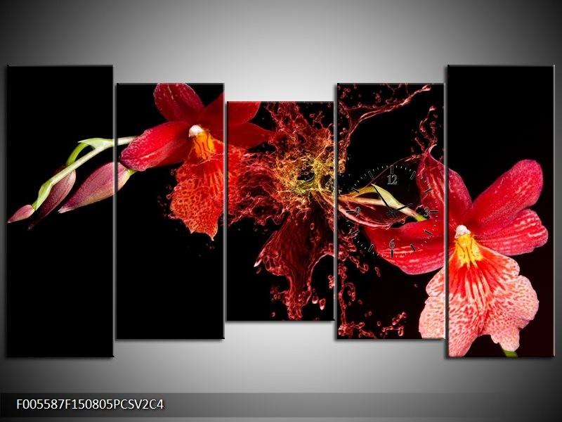 Klok schilderij Art | Rood, Zwart | 150x80cm 5Luik