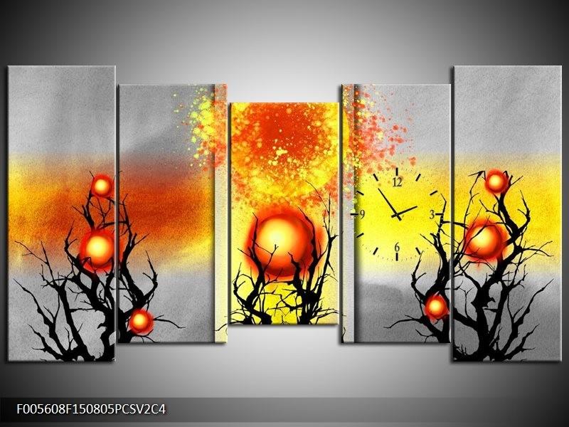 Klok schilderij Art | Geel, Grijs, Rood | 150x80cm 5Luik