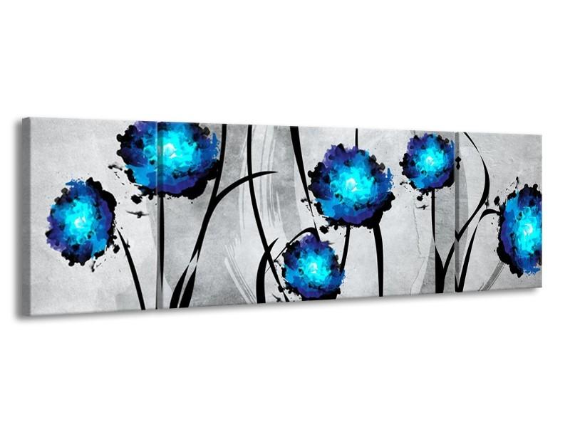 Glas schilderij Tulp | Grijs, Blauw, Zwart | 170x50cm 3Luik