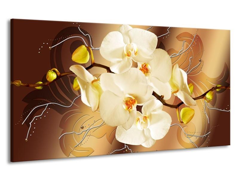 Canvas schilderij Orchidee | Bruin, Crème | 190x100cm 1Luik