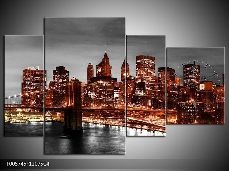 Klok schilderij New York | Bruin, Zwart | 120x75cm 4Luik