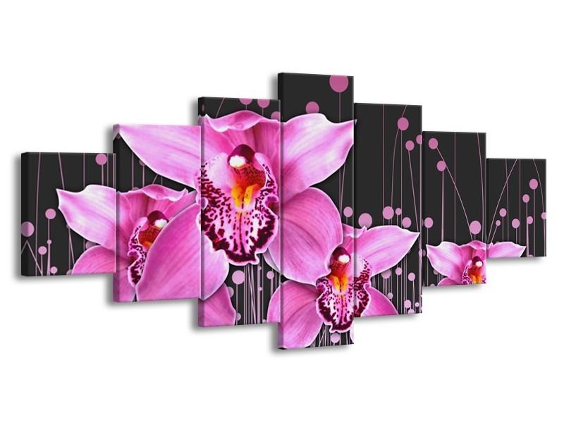 Glas schilderij Orchidee | Roze, Grijs | 210x100cm 7Luik