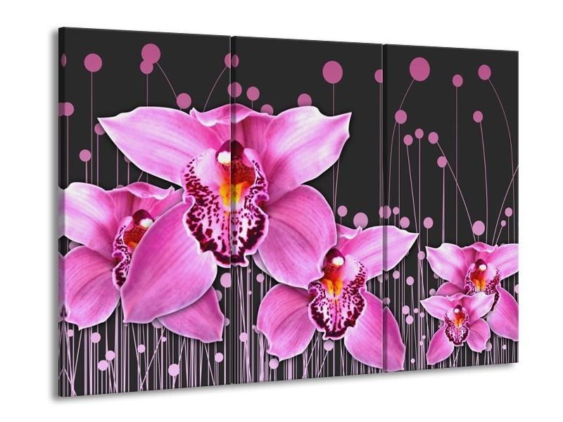Canvas schilderij Orchidee | Roze, Grijs | 90x60cm 3Luik