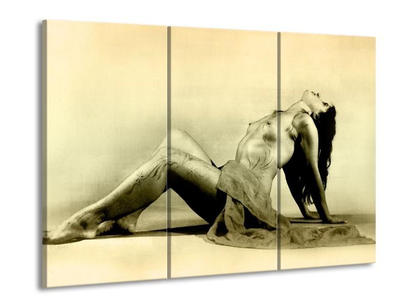 Glas schilderij Vrouw | Crème | 90x60cm 3Luik