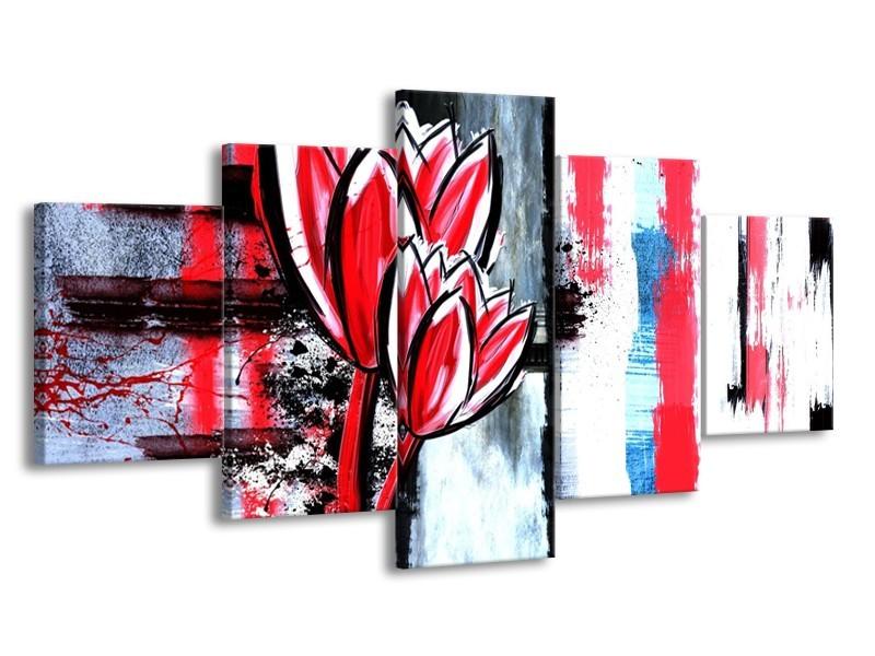Glas schilderij Tulp | Rood, Zwart, Wit | 150x80cm 5Luik