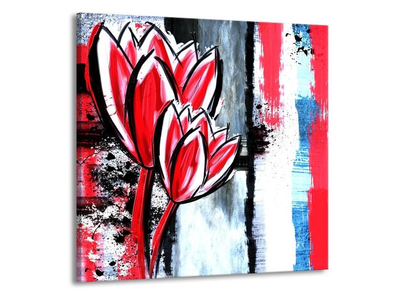 Canvas schilderij Tulp   Rood, Zwart, Wit   70x70cm 1Luik
