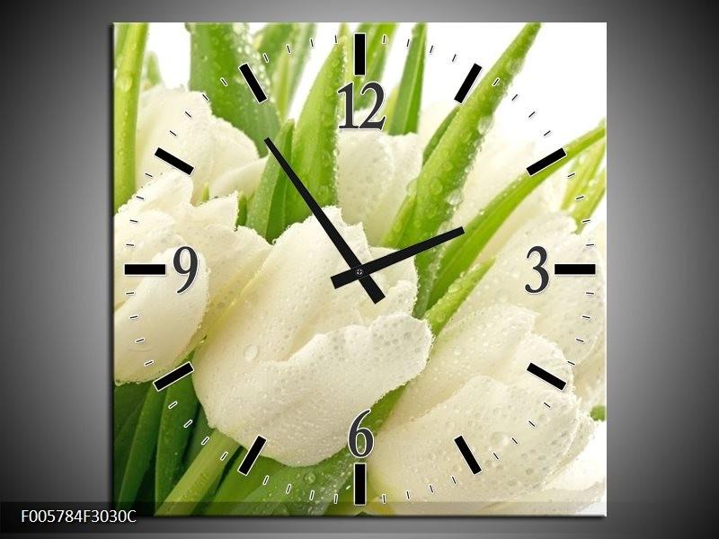 Klok schilderij Tulpen   Wit, Groen   30x30cm 1Luik