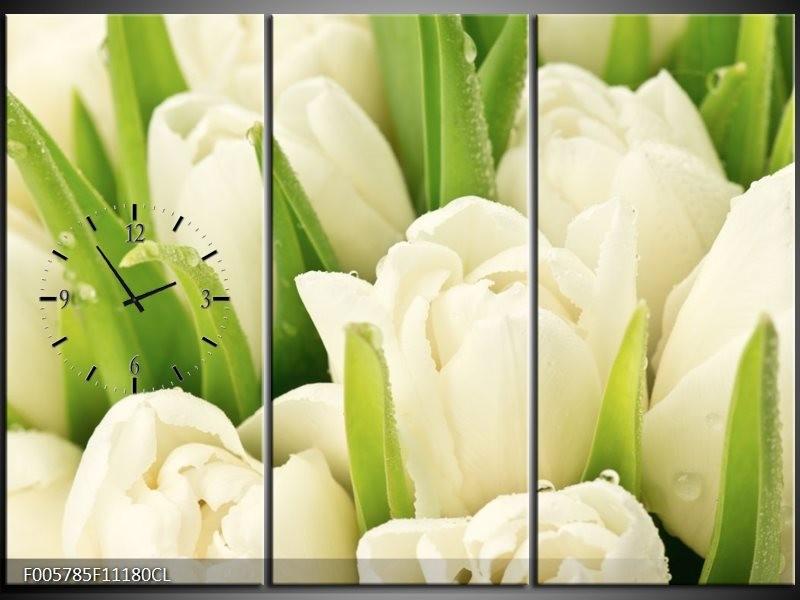 Klok schilderij Tulpen   Wit, Groen   111x80cm 3Luik