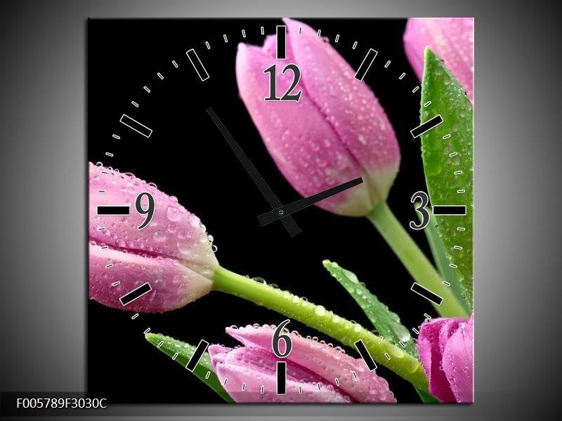 Klok schilderij Tulpen   Roze, Zwart, Groen   30x30cm 1Luik
