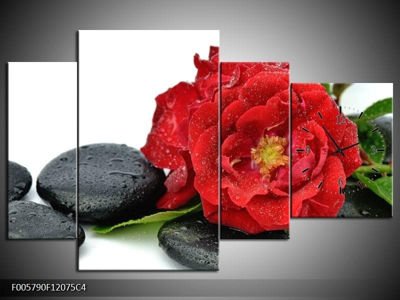 Klok schilderij Roos | Rood, Zwart, Wit | 120x75cm 4Luik