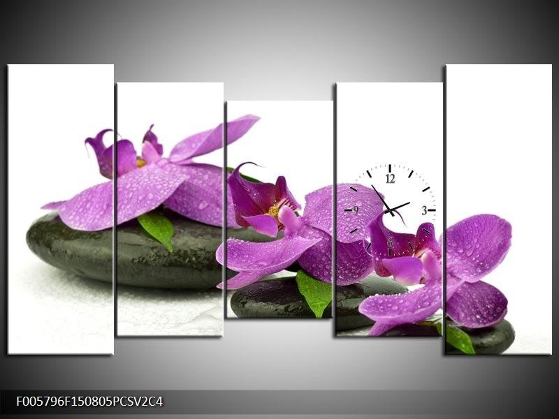 Klok schilderij Orchidee | Paars, Wit | 150x80cm 5Luik