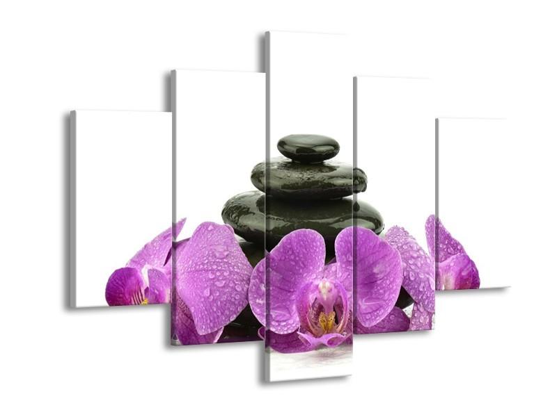 Canvas schilderij Orchidee | Paars, Zwart, Wit | 150x105cm 5Luik