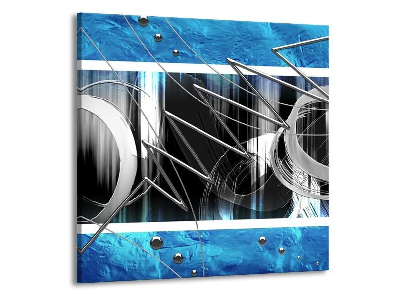 Canvas schilderij Modern   Blauw, Grijs, Wit   70x70cm 1Luik