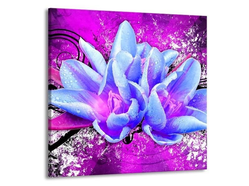 Canvas schilderij Abstract   Blauw, Paars, Wit   70x70cm 1Luik
