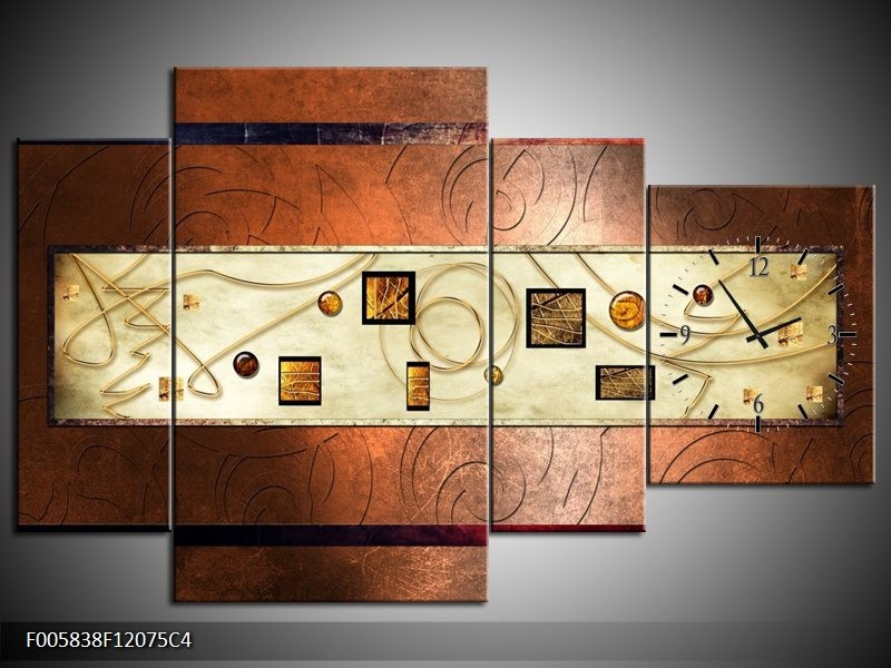 Klok schilderij Modern | Bruin, Goud | 120x75cm 4Luik
