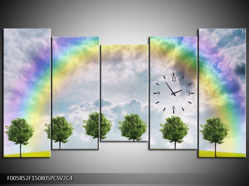 Klok schilderij Bomen | Groen, Grijs, Paars | 150x80cm 5Luik