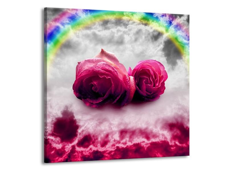 Canvas schilderij Roos   Roze, Grijs   70x70cm 1Luik