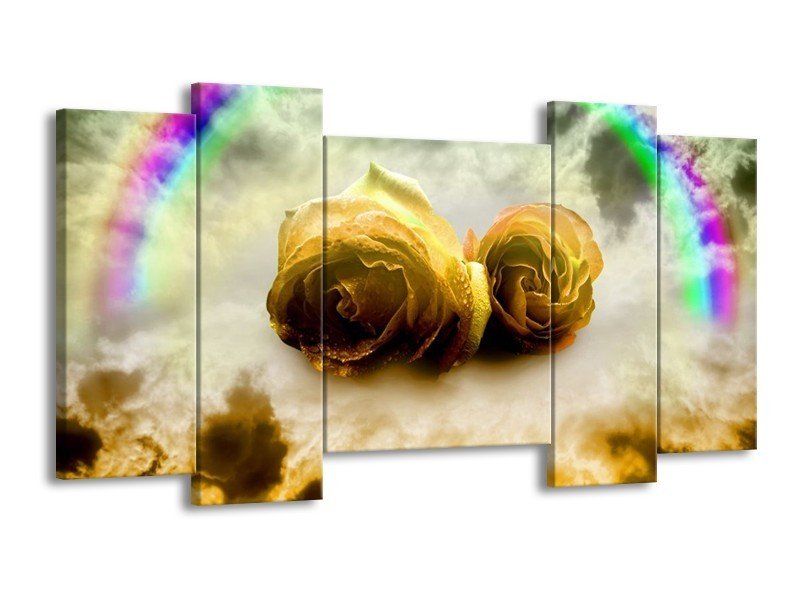 Glas schilderij Roos | Geel, Grijs | 120x65cm 5Luik