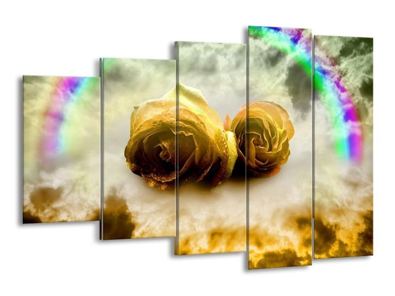 Canvas schilderij Roos | Geel, Grijs | 150x100cm 5Luik